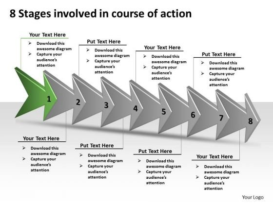 8 Stages Involved Course Of Action Best Flowchart PowerPoint Slides