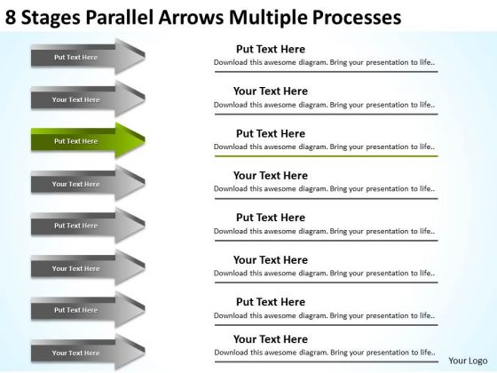 8 Stages Parallel Arrows Multiple Processes Trucking Business Plan PowerPoint Templates