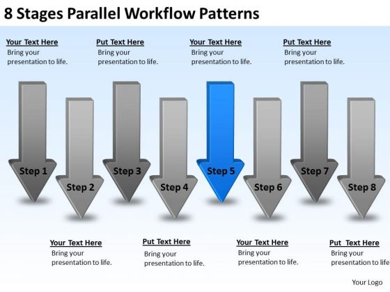 8 Stages Parallel Workflow Patterns Creating Small Business Plan PowerPoint Templates