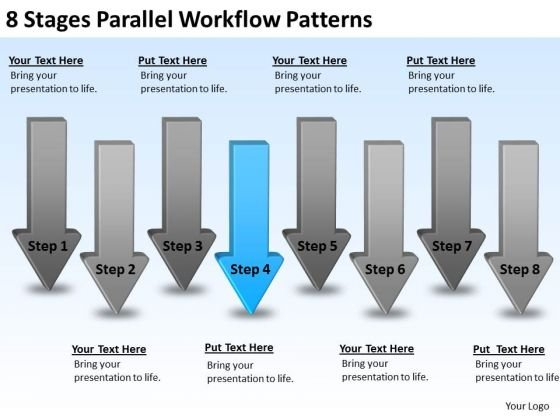 8 Stages Parallel Workflow Patterns Write Business Plan PowerPoint Slides