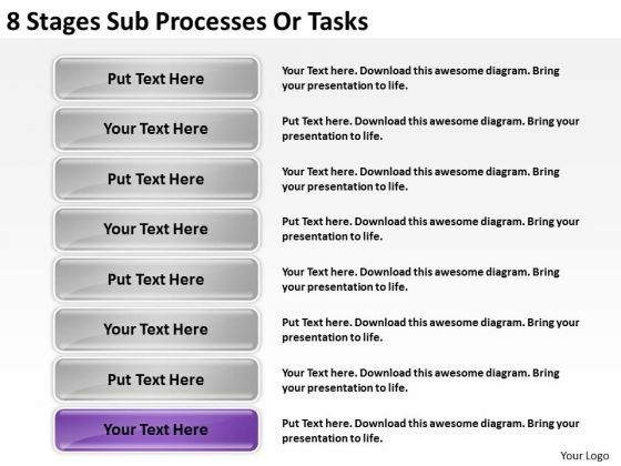 8 Stages Sub Processes Or Building Business Plan PowerPoint Slides