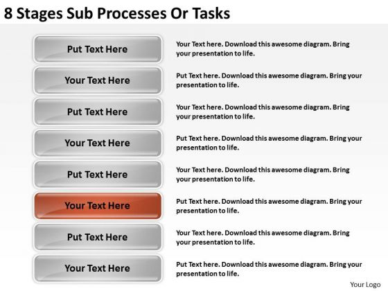 8 Stages Sub Processes Or Business Plan PowerPoint Slides