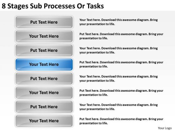 8 Stages Sub Processes Or Tasks Ppt Business Plan PowerPoint Template