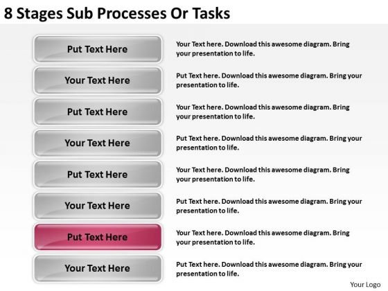 8 Stages Sub Processes Or Tasks Ppt Business Plan PowerPoint Templates