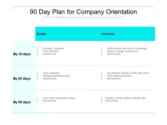 90 Day Plan For Company Orientation Ppt PowerPoint Presentation Icon Example File PDF
