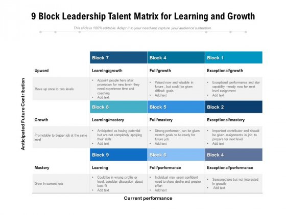 9 Block Leadership Talent Matrix For Learning And Growth Ppt PowerPoint Presentation Gallery Microsoft PDF