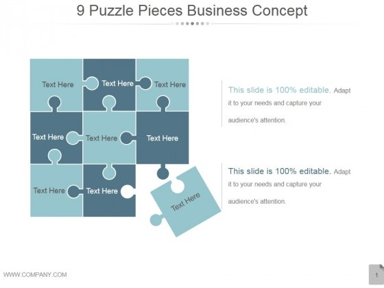 9 Puzzle Pieces Business Concept Ppt PowerPoint Presentation Graphics
