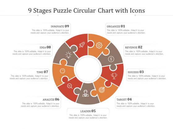 9 Stages Puzzle Circular Chart With Icons Ppt PowerPoint Presentation Model Slides PDF