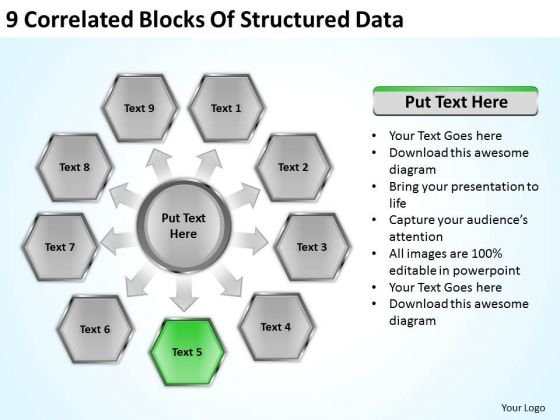 9 Correlated Blocks Of Structured Data How To Present Business Plan PowerPoint Slides