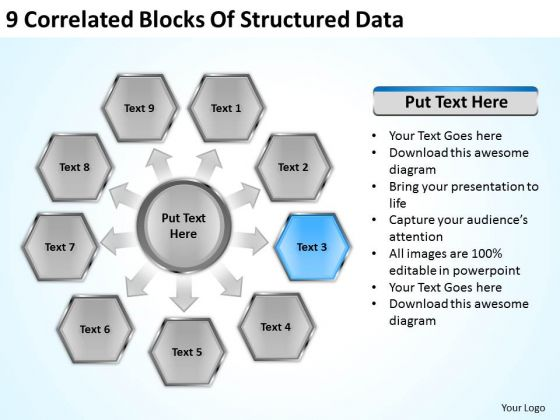 9 Correlated Blocks Of Structured Data Ppt Business Plan PowerPoint Slides