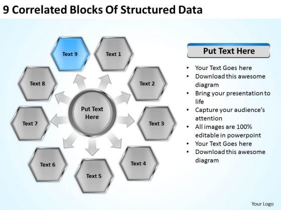 9 Correlated Blocks Of Structured Data Ppt Business Plan PowerPoint Templates