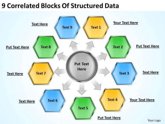 9 Correlated Blocks Of Structured Data Ppt Film Business Plan PowerPoint Slides