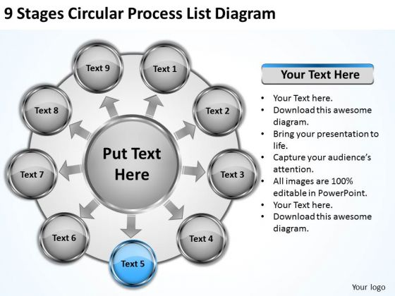 9 Stages Circular Process List Diagram Business Plans For Sale PowerPoint Templates