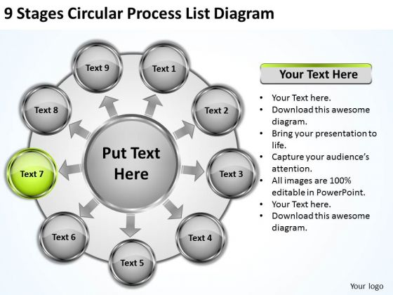 9 Stages Circular Process List Diagram Coffee Business Plan PowerPoint Templates