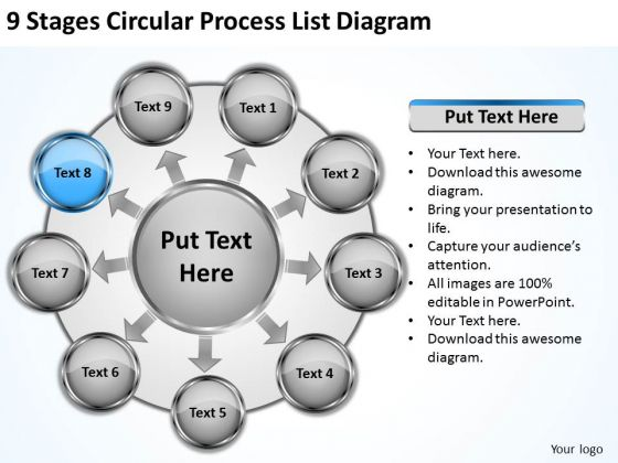 9 Stages Circular Process List Diagram Ppt Simple Business Plan PowerPoint Slides