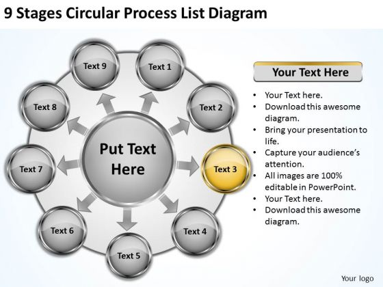 9 Stages Circular Process List Diagram Printable Business Plans PowerPoint Templates