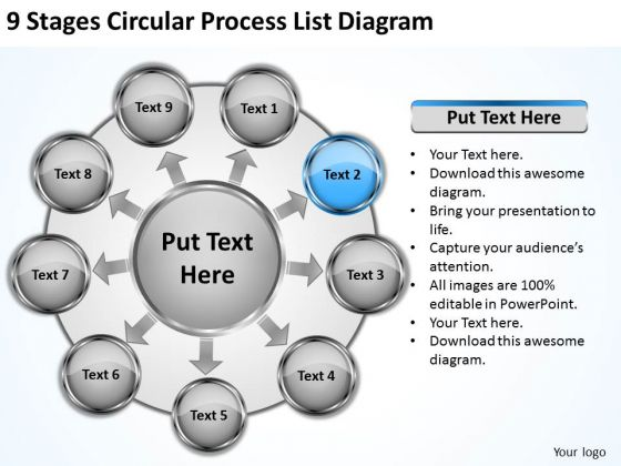9 Stages Circular Process List Diagram Small Business Plan Sample PowerPoint Slides