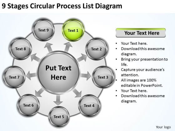 9 Stages Circular Process List Diagram Step By Business Plan PowerPoint Templates