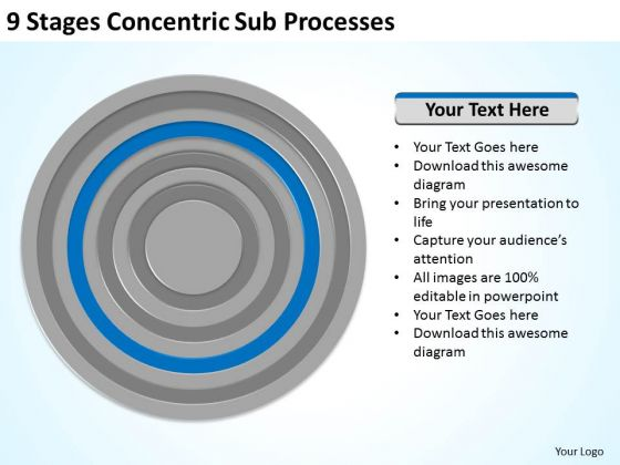 9 Stages Concentric Sub Processes Ppt Business Plan Assistance PowerPoint Templates