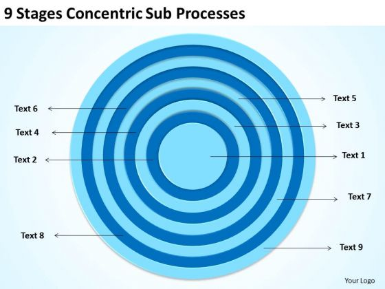 9 Stages Concentric Sub Processes Ppt Business Plan Examples PowerPoint Slides