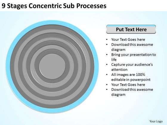 9 Stages Concentric Sub Processes Ppt Business Plan Marketing PowerPoint Templates