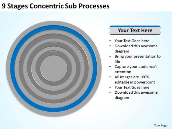 9 Stages Concentric Sub Processes Ppt Business Plan Template PowerPoint Templates
