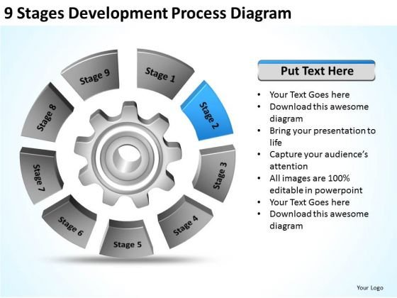 9 Stages Development Process Diagram How To Make Business Plan PowerPoint Templates