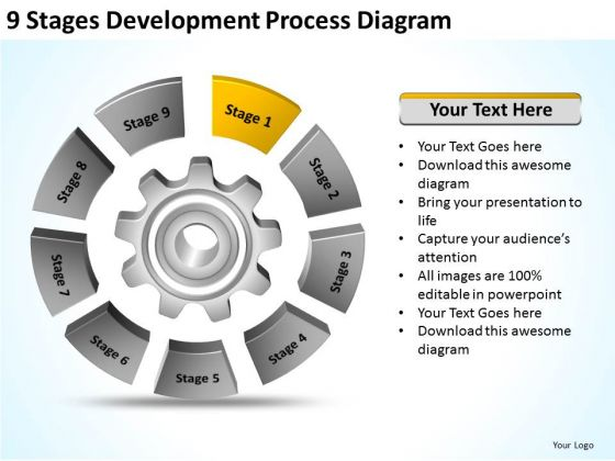 9 Stages Development Process Diagram Ppt Business Plan PowerPoint Slides