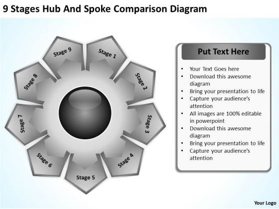 9 Stages Hub And Spoke Comparison Diagram Business Plan Models PowerPoint Slides