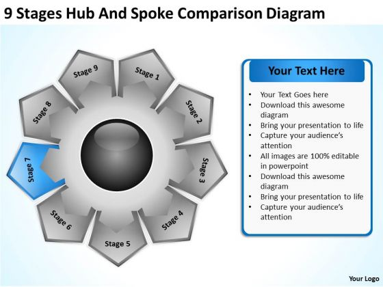 9 Stages Hub And Spoke Comparison Diagram Business Plans PowerPoint Templates