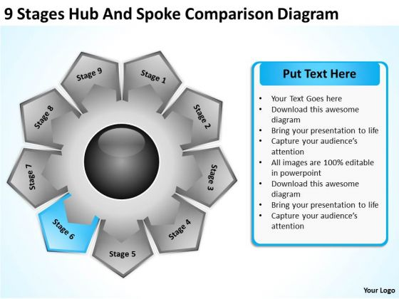 9 Stages Hub And Spoke Comparison Diagram Sample Of Business Plan PowerPoint Slides