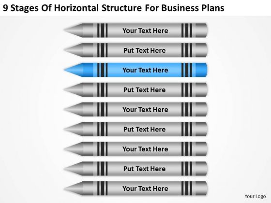 9 Stages Of Horizontal Structure For Business Plans Ppt Develop PowerPoint Slides