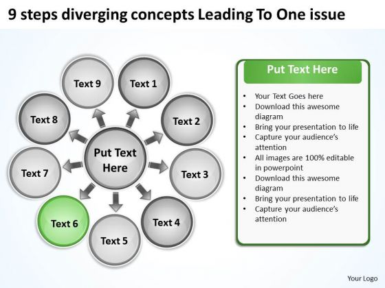 9 Steps Diverging Concepts Leading To One Issue Circular Network PowerPoint Slides