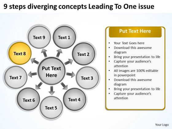 9 Steps Diverging Concepts Leading To One Issue Ppt Circular Flow Diagram PowerPoint Slides