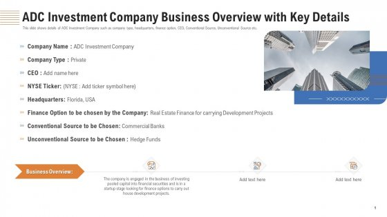 ADC Investment Company Business Overview With Key Details Ppt Visual Aids Ideas PDF