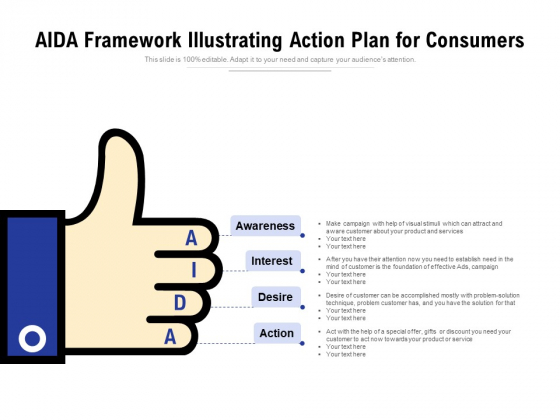 AIDA Framework Illustrating Action Plan For Consumers Ppt PowerPoint Presentation Icon Outline PDF