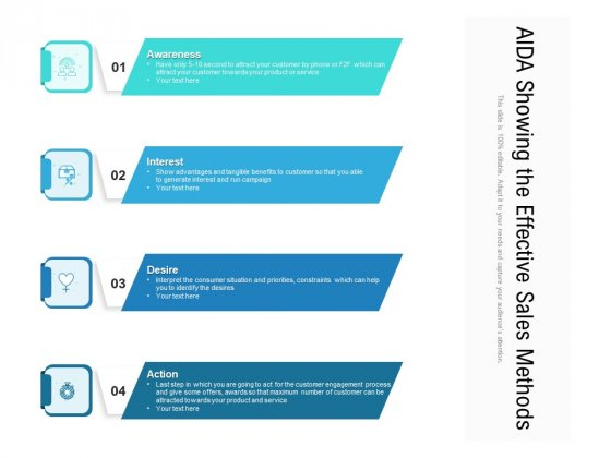 AIDA Showing The Effective Sales Methods Ppt PowerPoint Presentation File Elements PDF