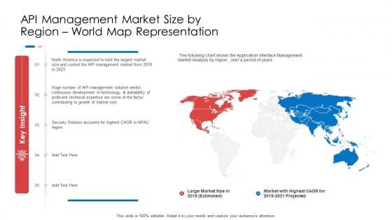API Administration Solution API Management Market Size By Region World Map Representation Ppt Outline Graphics Download PDF