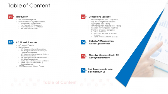 API Administration Solution Table Of Content Ppt File Graphics PDF