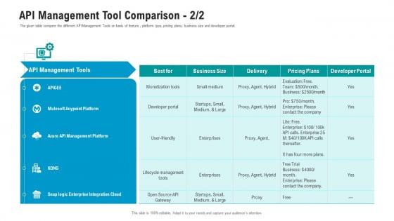 API Ecosystem API Management Tool Comparison Developer Template PDF