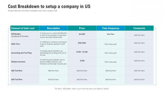 API Ecosystem Cost Breakdown To Setup A Company In Us Diagrams PDF