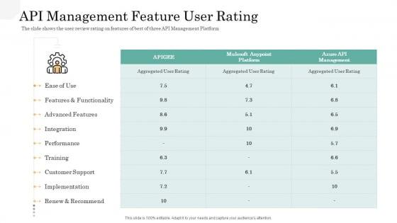 API Management Market API Management Feature User Rating Mockup PDF