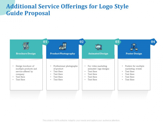 A Step By Step Guide To Creating Brand Guidelines Additional Service Offerings For Logo Style Guide Proposal Topics PDF