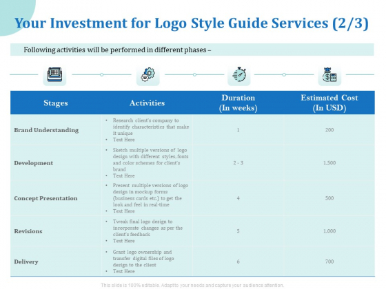 A Step By Step Guide To Creating Brand Guidelines Your Investment For Logo Style Guide Services Activities Download PDF
