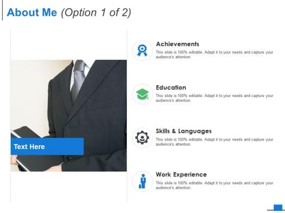 About Me Option Management Ppt PowerPoint Presentation Styles Design Templates
