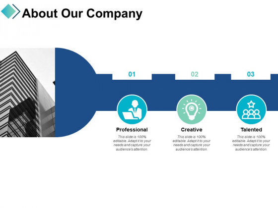 About Our Company Professional Creative Ppt PowerPoint Presentation Show Structure