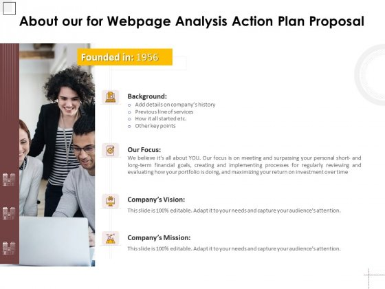 About Our For Webpage Analysis Action Plan Proposal Ppt PowerPoint Presentation Outline Graphics Tutorials PDF