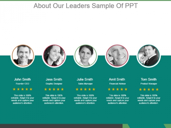About Our Leaders Sample Of Ppt