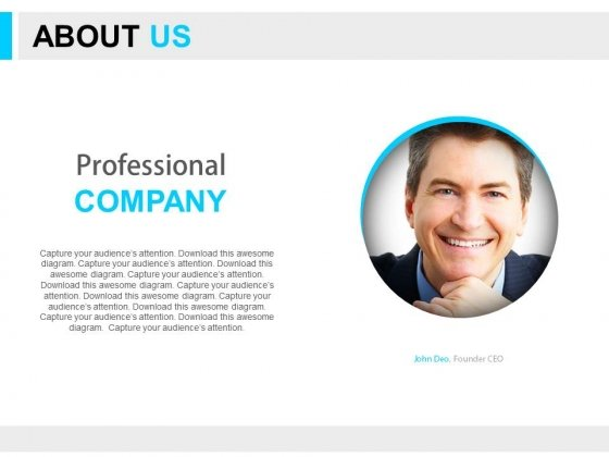 About Us Company Profile With Image Powerpoint Slides