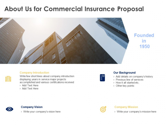 About Us For Commercial Insurance Proposal Ppt Powerpoint Presentation Professional Graphics Download